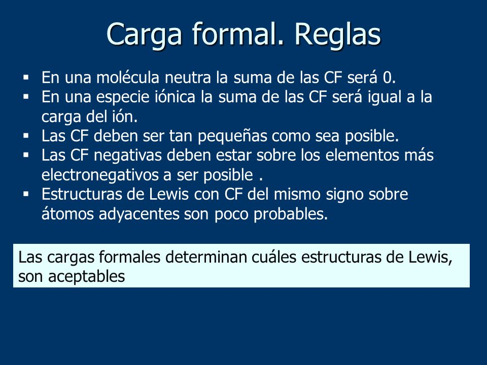 Carga formal. Reglas En una molécula neutra la suma de las CF será 0.