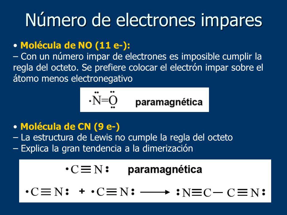 Número de electrones impares
