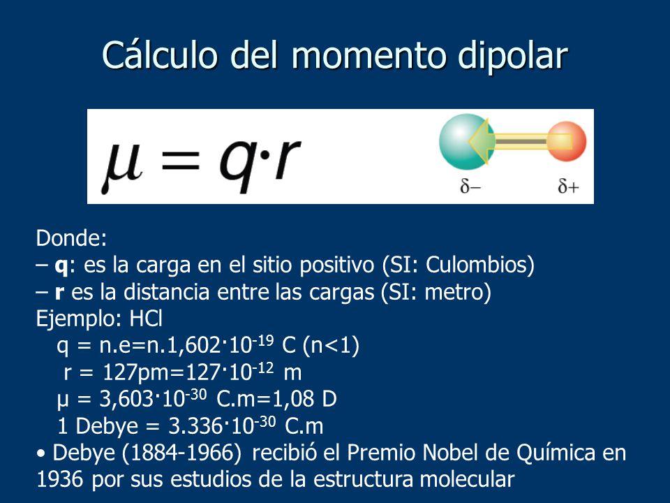 Cálculo del momento dipolar