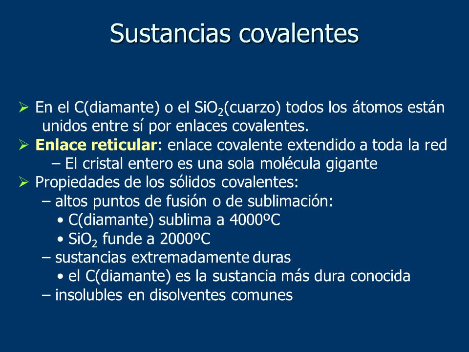 Sustancias covalentes