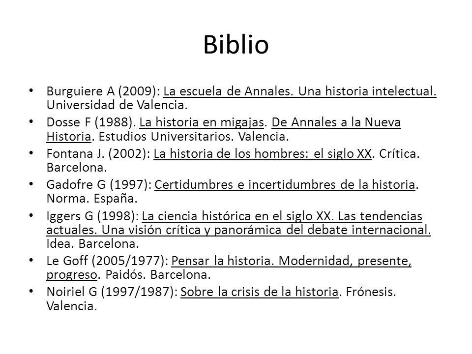 Biblio Burguiere A (2009): La escuela de Annales. Una historia intelectual. Universidad de Valencia.