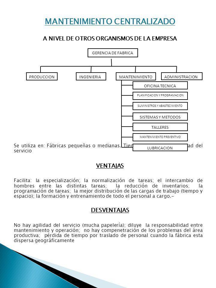 MANTENIMIENTO CENTRALIZADO A NIVEL DE OTROS ORGANISMOS DE LA EMPRESA