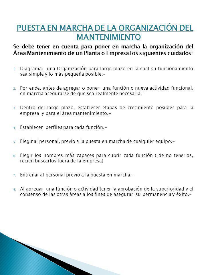 PUESTA EN MARCHA DE LA ORGANIZACIÓN DEL MANTENIMIENTO