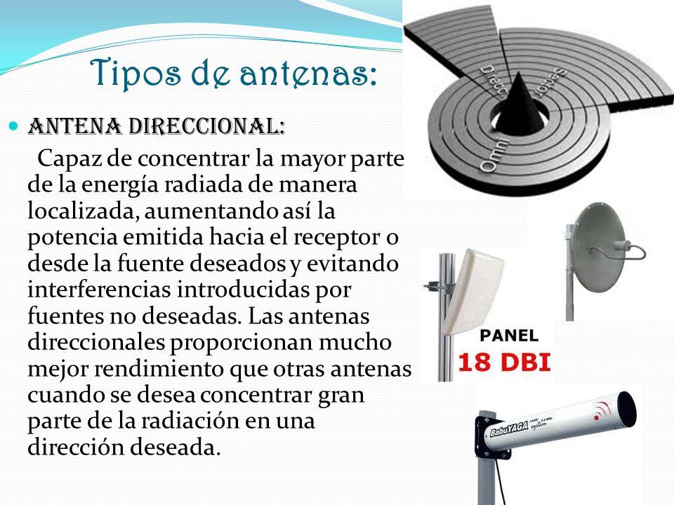 Tipos de antenas: Antena DIRECCIONAL: