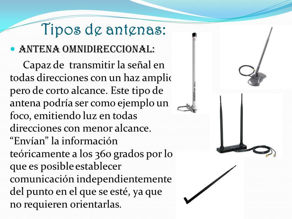 Tipos de antenas: ANTENA OMNIDIRECCIONAL: