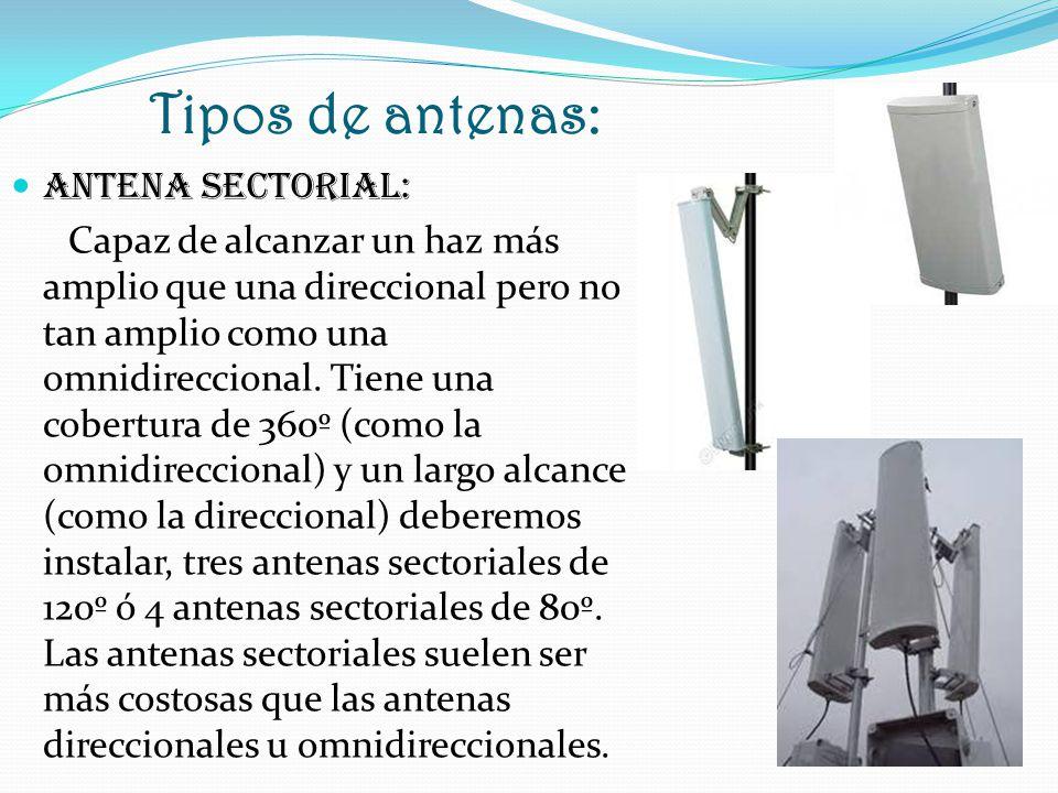 Tipos de antenas: ANTENA SECTORIAL: