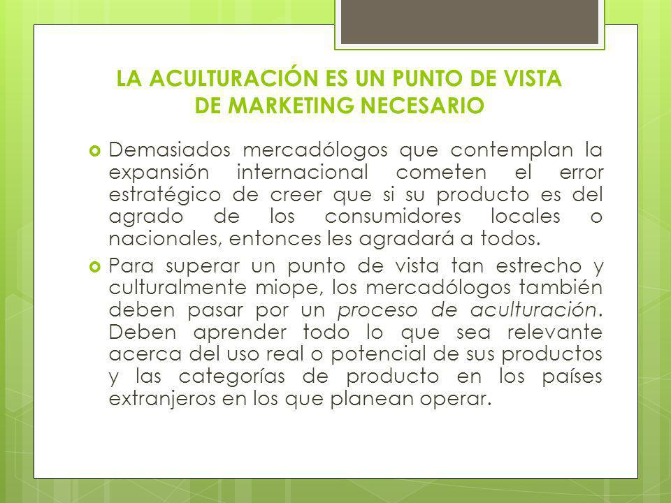 LA ACULTURACIÓN ES UN PUNTO DE VISTA DE MARKETING NECESARIO