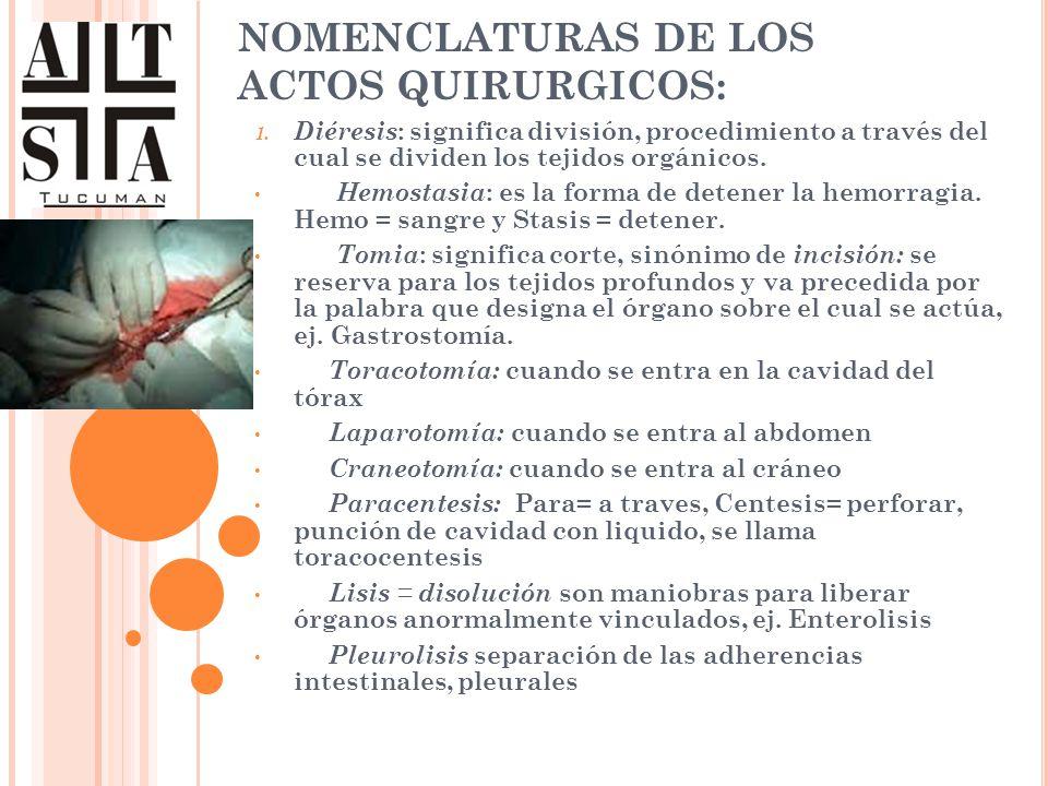 NOMENCLATURAS DE LOS ACTOS QUIRURGICOS:
