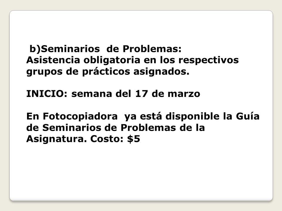 b)Seminarios de Problemas: