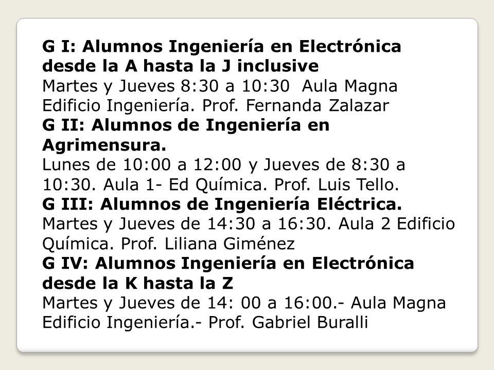 G I: Alumnos Ingeniería en Electrónica desde la A hasta la J inclusive