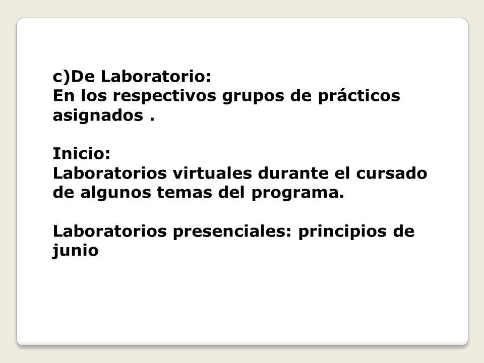 c)De Laboratorio: En los respectivos grupos de prácticos asignados . Inicio:
