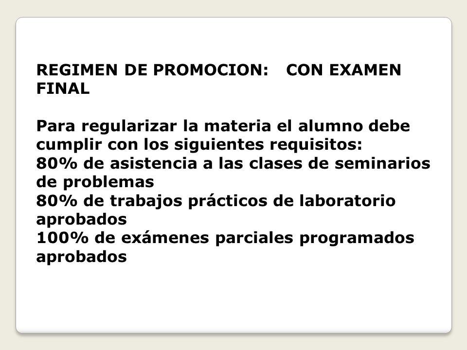 REGIMEN DE PROMOCION: CON EXAMEN FINAL