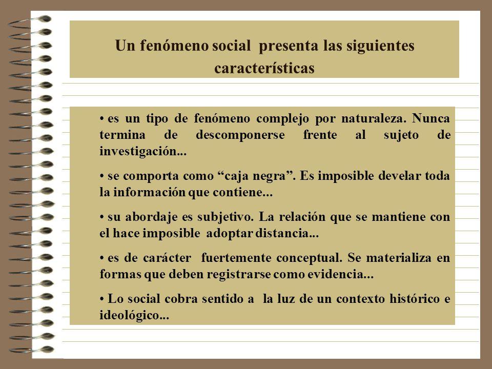 Un fenómeno social presenta las siguientes características