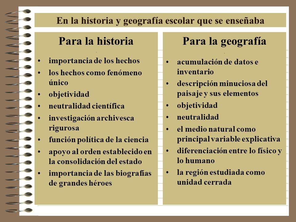 En la historia y geografía escolar que se enseñaba