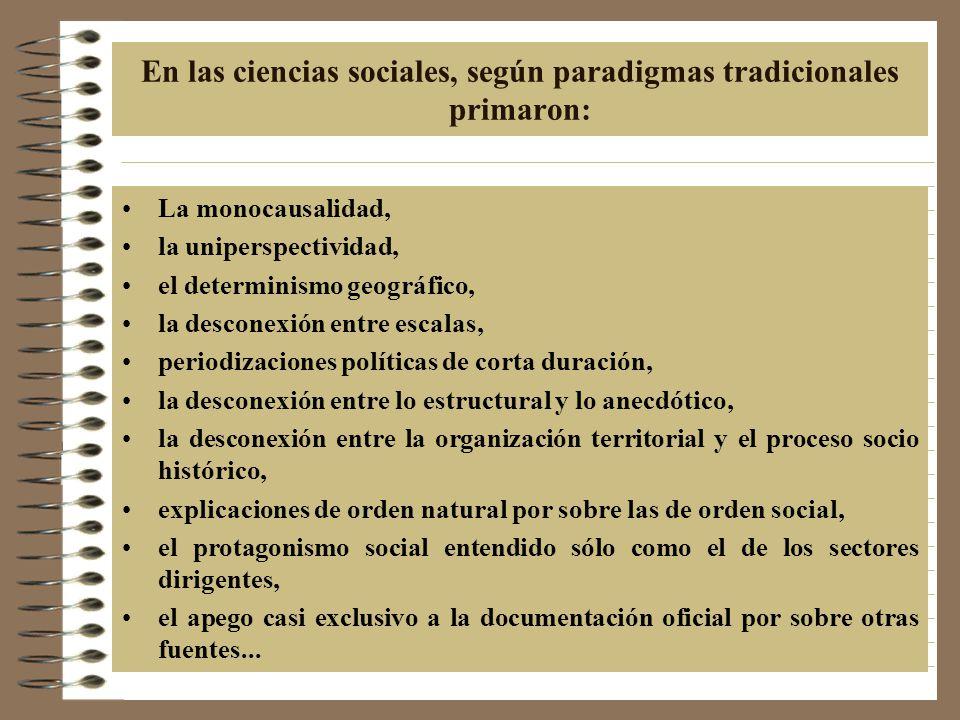 En las ciencias sociales, según paradigmas tradicionales primaron: