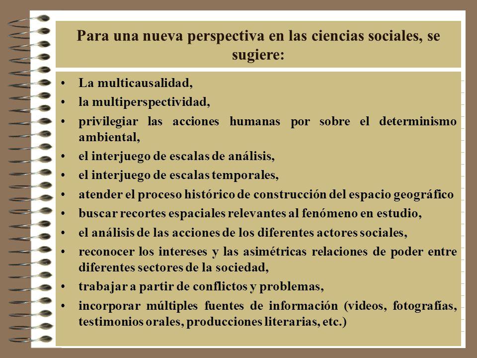 Para una nueva perspectiva en las ciencias sociales, se sugiere: