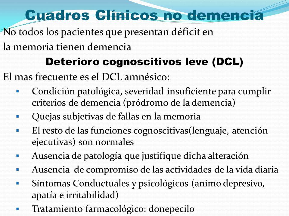 Cuadros Clínicos no demencia