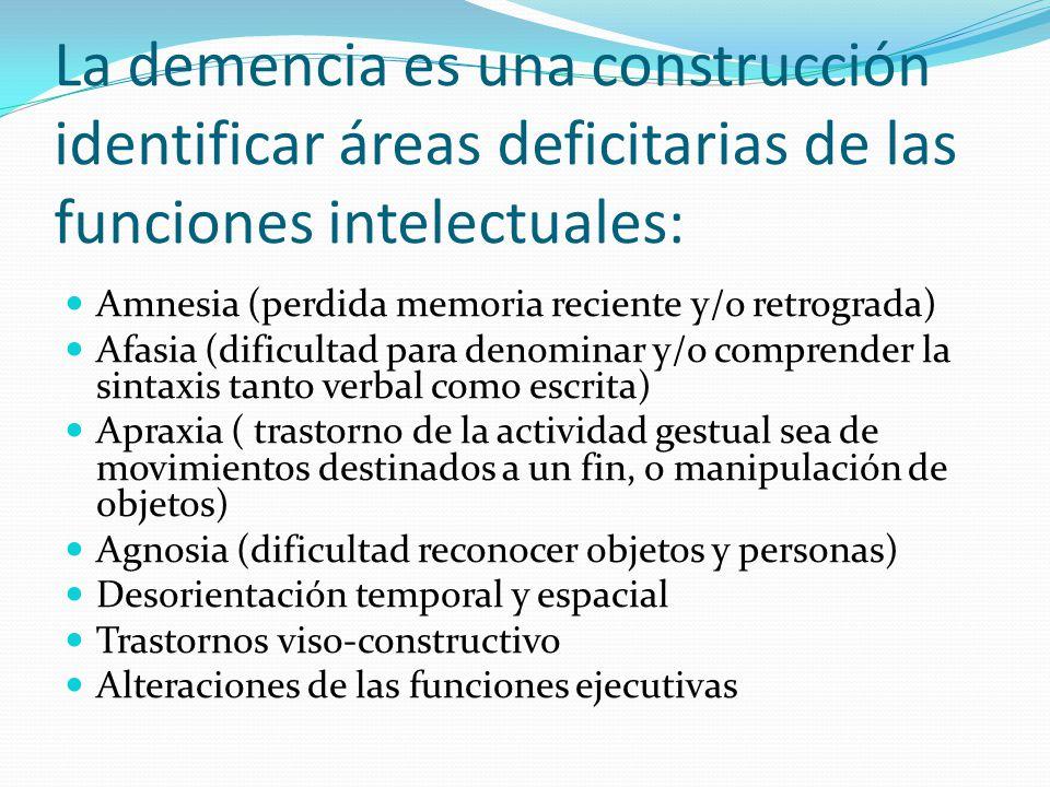 La demencia es una construcción identificar áreas deficitarias de las funciones intelectuales: