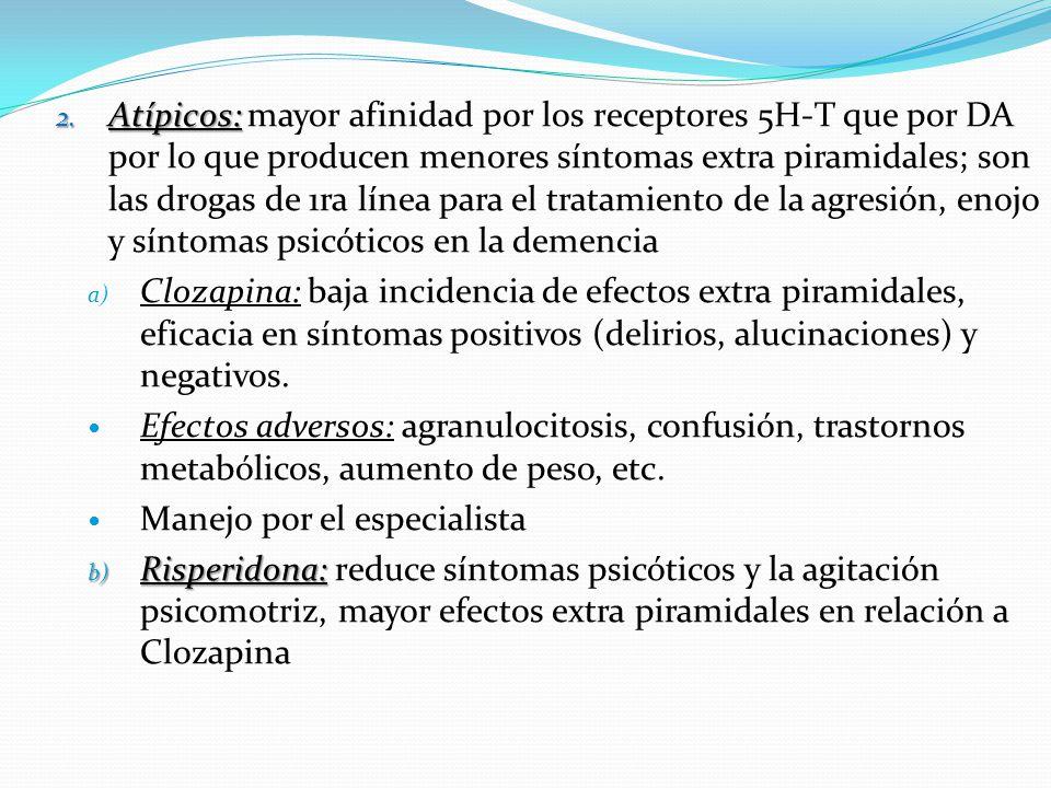 Atípicos: mayor afinidad por los receptores 5H-T que por DA por lo que producen menores síntomas extra piramidales; son las drogas de 1ra línea para el tratamiento de la agresión, enojo y síntomas psicóticos en la demencia