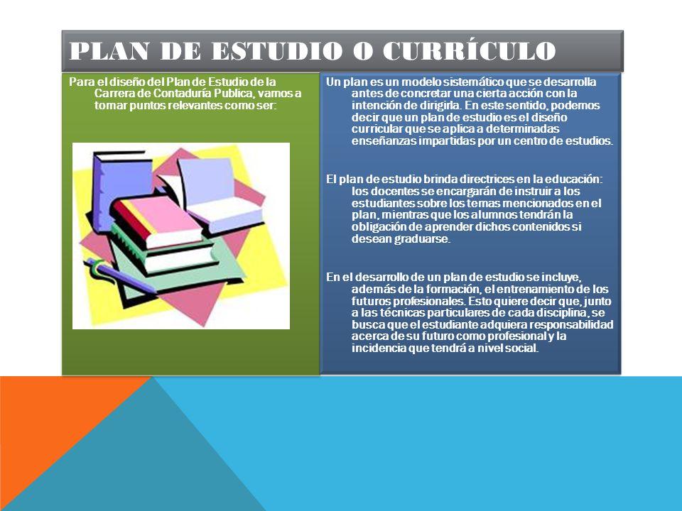 Plan de estudio o currículo