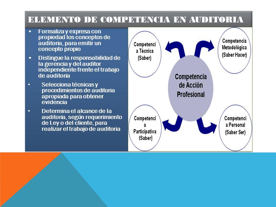 ELEMENTO DE COMPETENCIA EN AUDITORIA