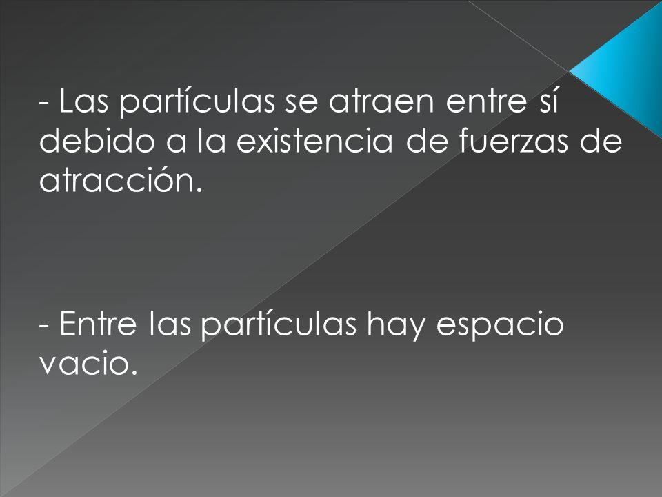 - Las partículas se atraen entre sí debido a la existencia de fuerzas de atracción.