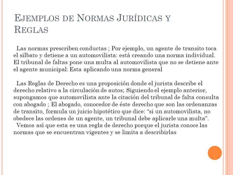Ejemplos de Normas Jurídicas y Reglas