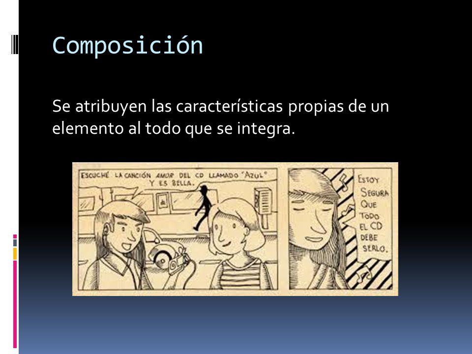 Composición Se atribuyen las características propias de un elemento al todo que se integra.