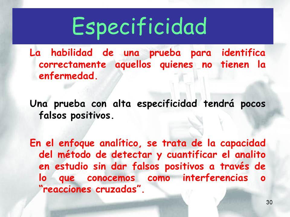 Especificidad La habilidad de una prueba para identifica correctamente aquellos quienes no tienen la enfermedad.