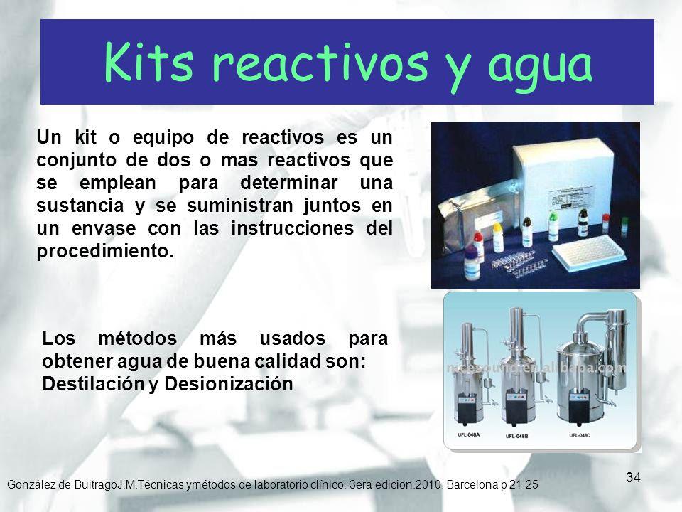 Kits reactivos y agua
