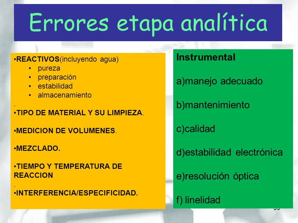 Errores etapa analítica