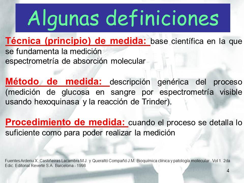 Algunas definiciones Técnica (principio) de medida: base científica en la que se fundamenta la medición.