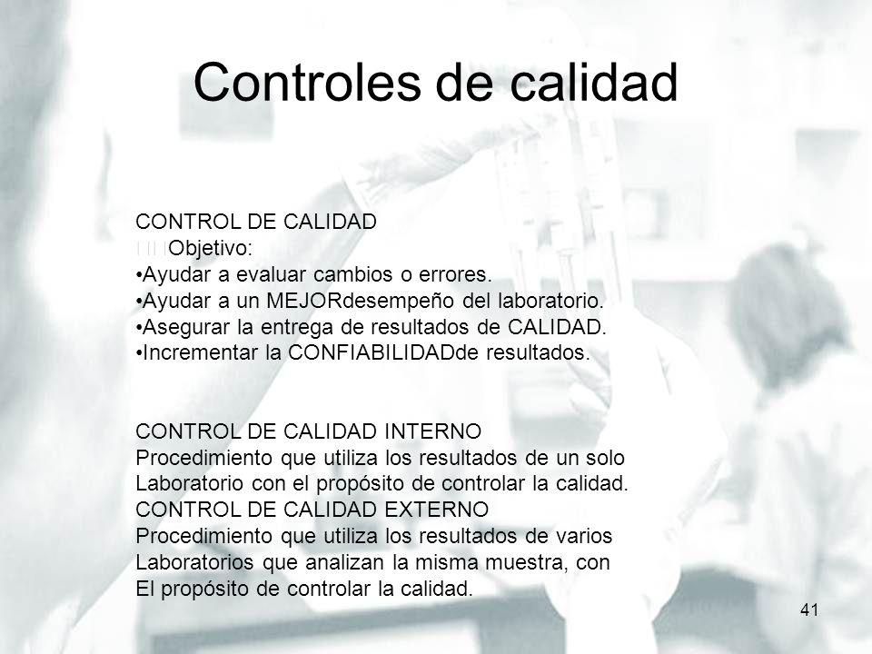 Controles de calidad CONTROL DE CALIDAD Objetivo: