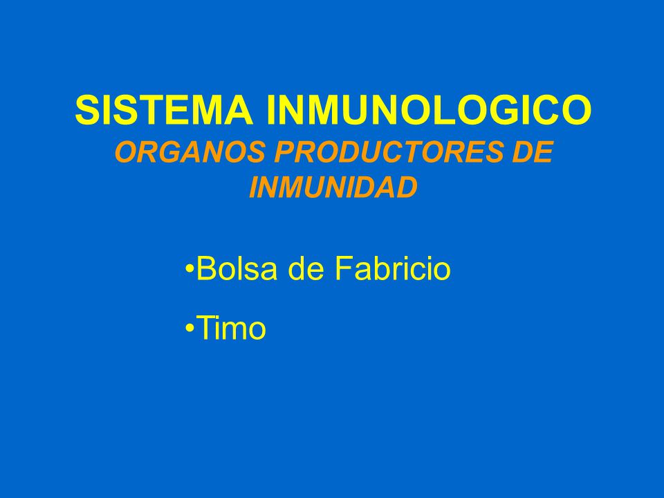 SISTEMA INMUNOLOGICO ORGANOS PRODUCTORES DE INMUNIDAD
