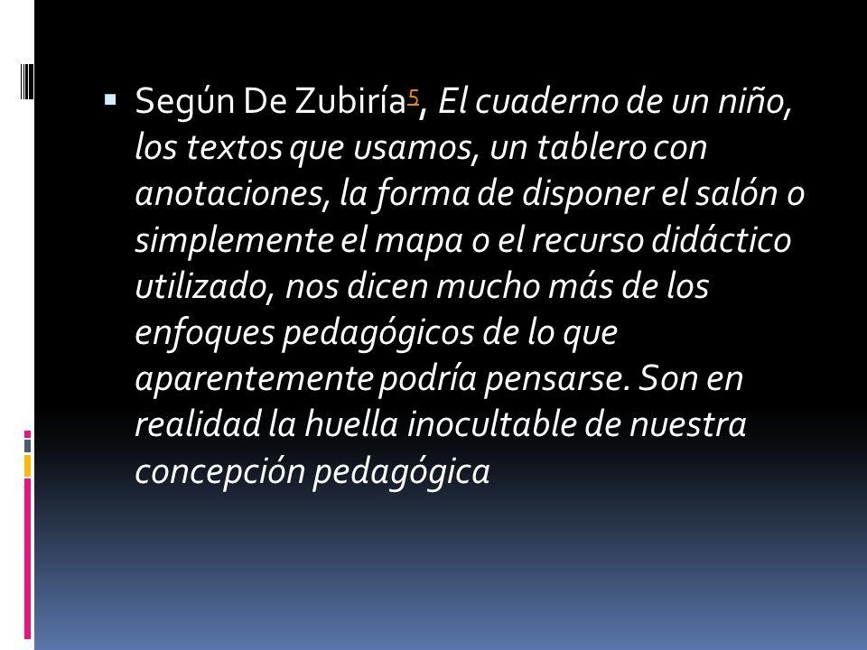 Según De Zubiría5, El cuaderno de un niño, los textos que usamos, un tablero con anotaciones, la forma de disponer el salón o simplemente el mapa o el recurso didáctico utilizado, nos dicen mucho más de los enfoques pedagógicos de lo que aparentemente podría pensarse.