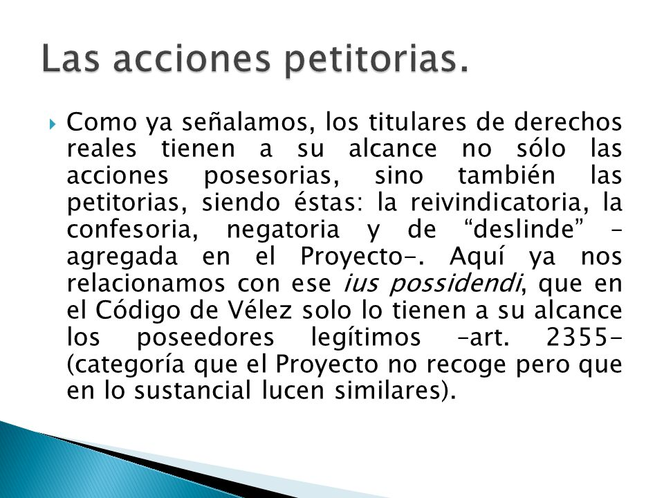 Las acciones petitorias.