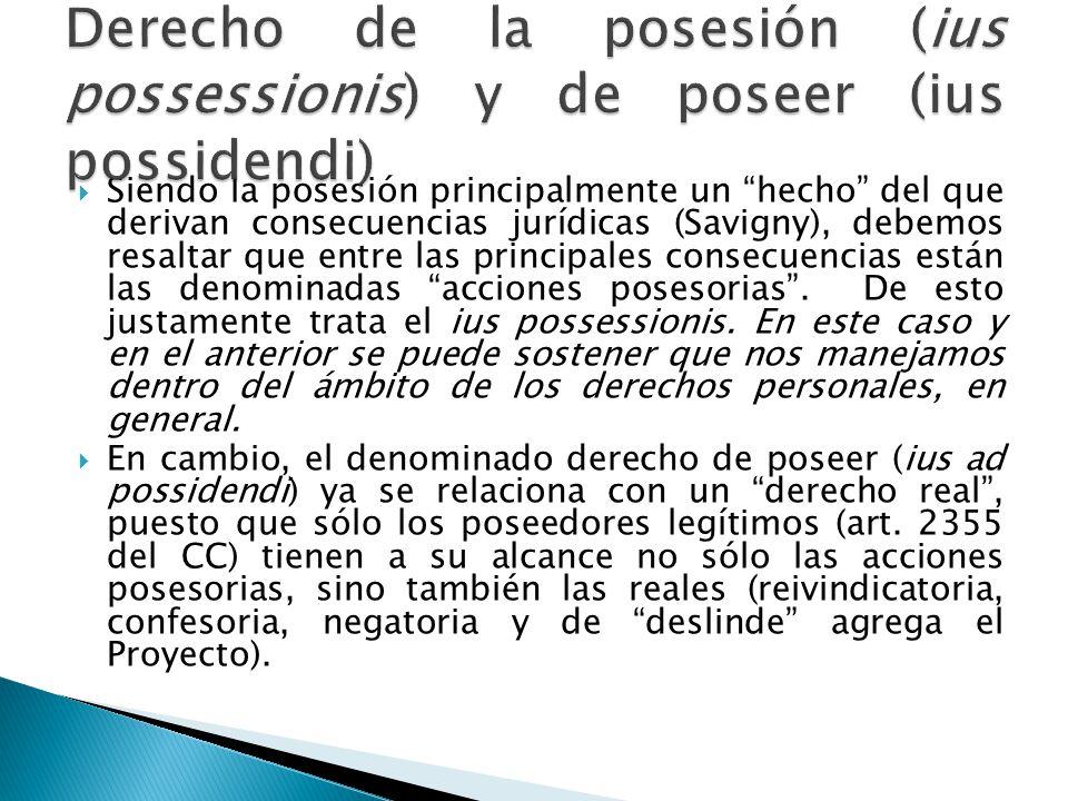 Derecho de la posesión (ius possessionis) y de poseer (ius possidendi)