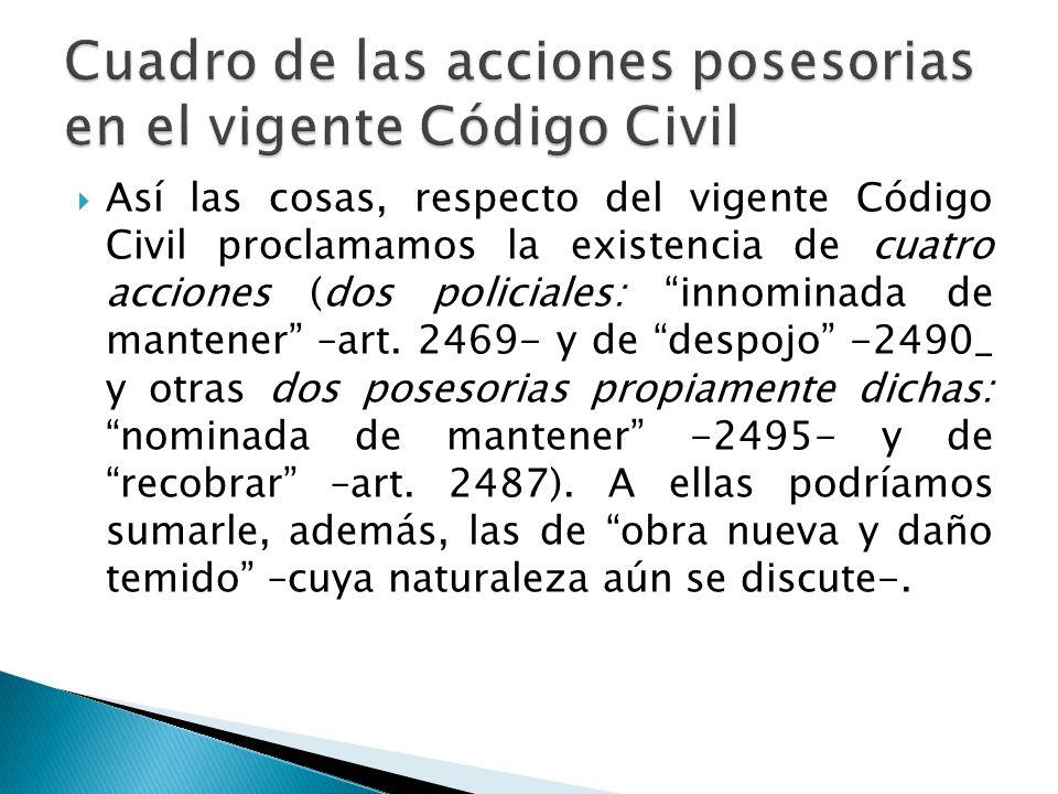 Cuadro de las acciones posesorias en el vigente Código Civil