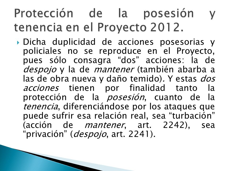 Protección de la posesión y tenencia en el Proyecto 2012.