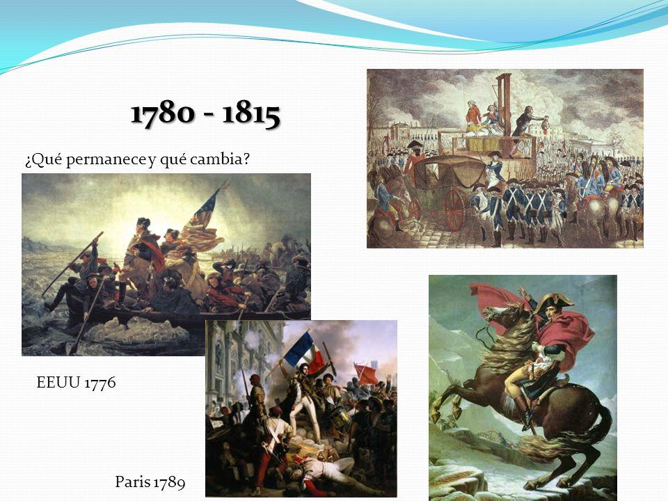 1780 - 1815 ¿Qué permanece y qué cambia EEUU 1776 Paris 1789