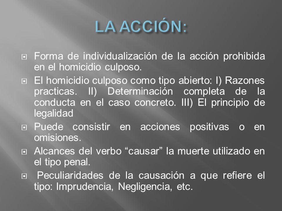 LA ACCIÓN: Forma de individualización de la acción prohibida en el homicidio culposo.