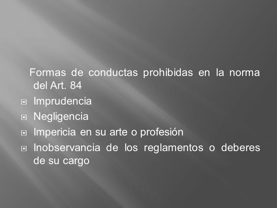 Formas de conductas prohibidas en la norma del Art. 84