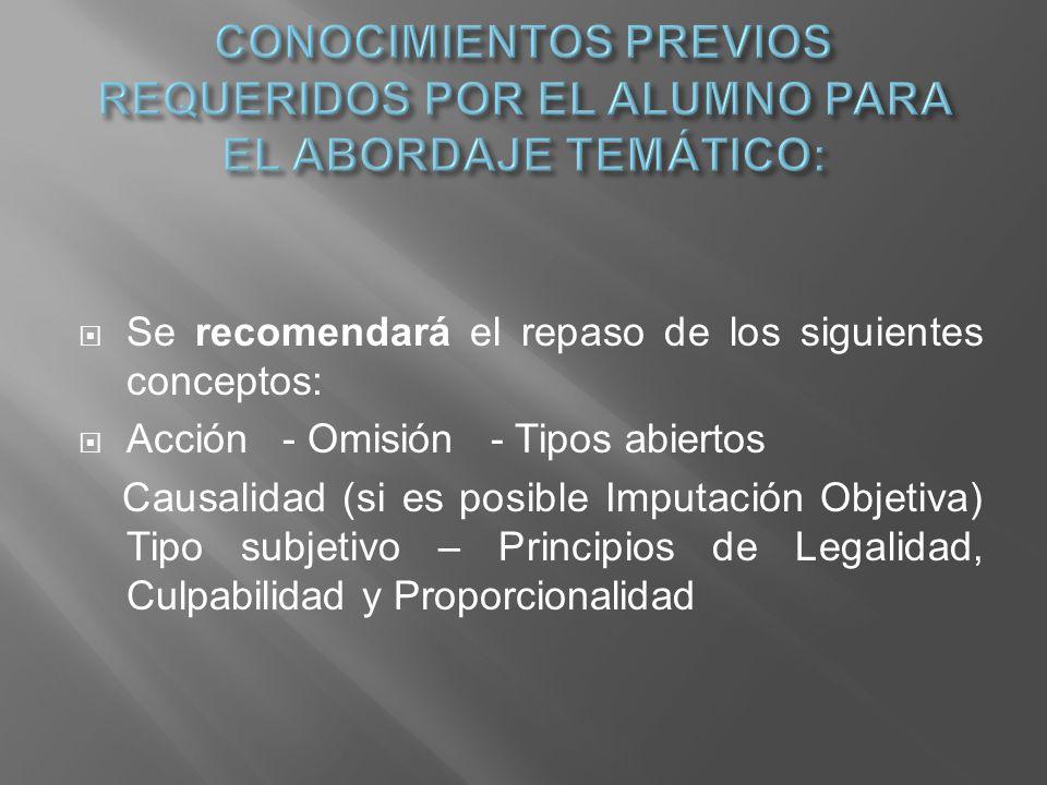 CONOCIMIENTOS PREVIOS REQUERIDOS POR EL ALUMNO PARA EL ABORDAJE TEMÁTICO: