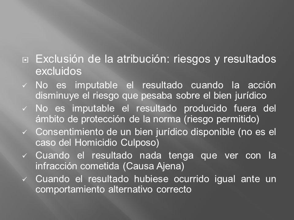 Exclusión de la atribución: riesgos y resultados excluidos