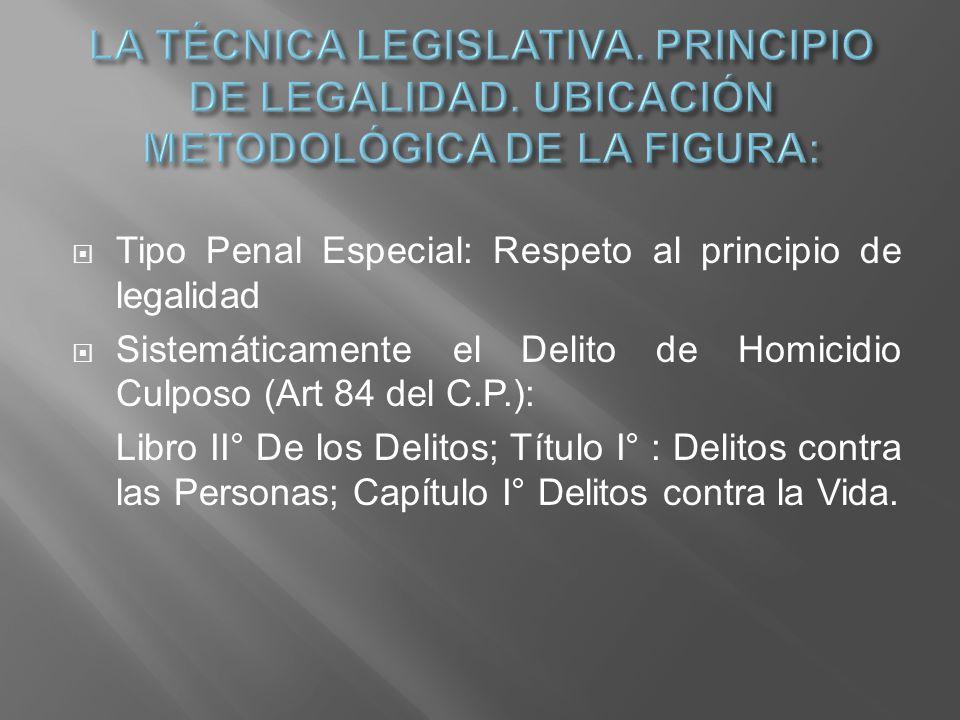 LA TÉCNICA LEGISLATIVA. PRINCIPIO DE LEGALIDAD