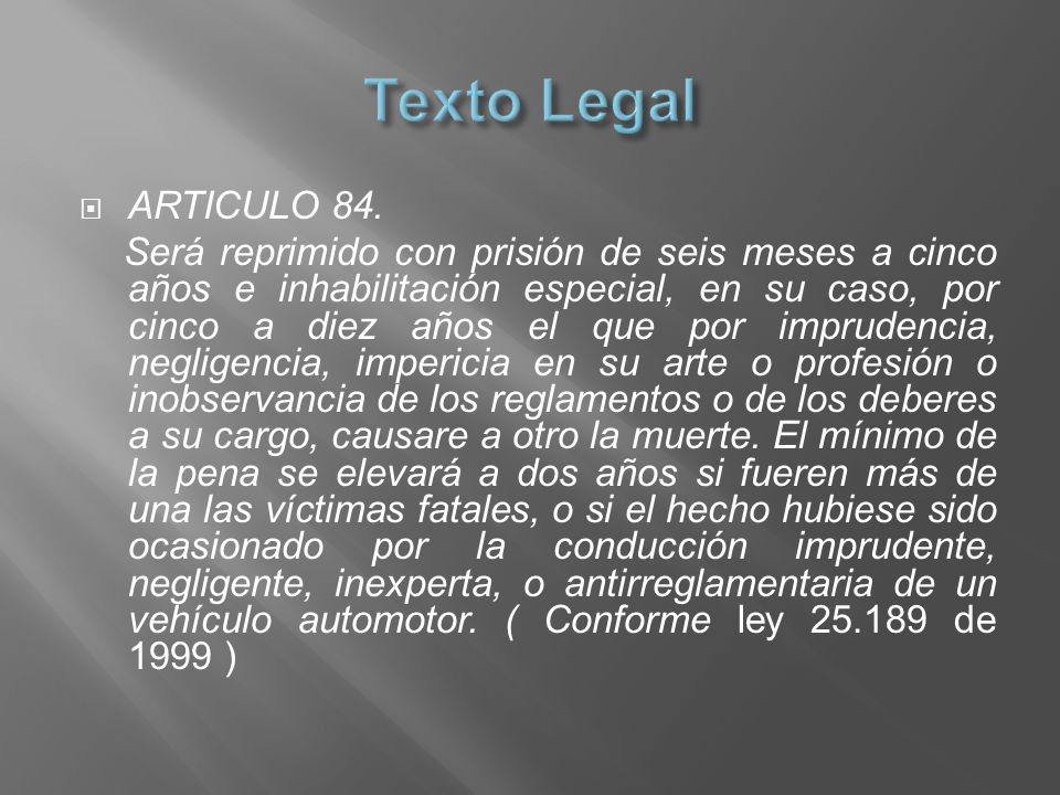 Texto Legal ARTICULO 84.