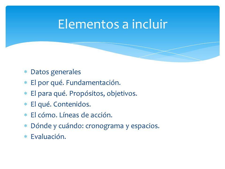 Elementos a incluir Datos generales El por qué. Fundamentación.