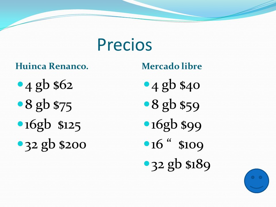 Precios 4 gb $62 8 gb $75 16gb $125 32 gb $200 4 gb $40 8 gb $59