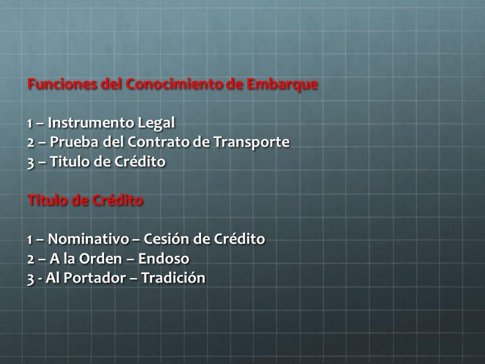 Funciones del Conocimiento de Embarque 1 – Instrumento Legal 2 – Prueba del Contrato de Transporte 3 – Titulo de Crédito Titulo de Crédito 1 – Nominativo – Cesión de Crédito 2 – A la Orden – Endoso 3 - Al Portador – Tradición