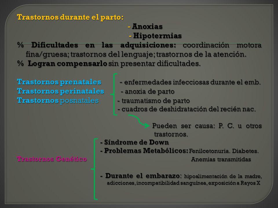 Trastornos durante el parto: - Anoxias - Hipotermias